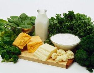 Молочные продукты и зелень