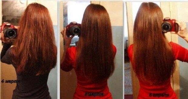 До и после ополаскивания волос