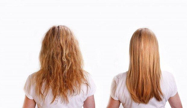 До и после маски для волос